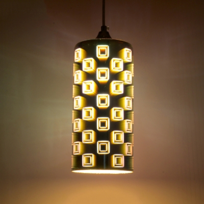 3D Stained Glass Cylinder Suspended Light Modern Chic Single Light Hanging Light for Kitchen