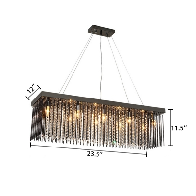 8 Bulbs Linear Hanging Lamp with Crystal Beads Contemporary Height Adjustable Chandelier Lamp in Black