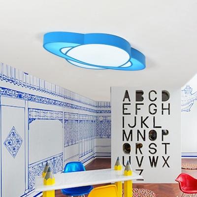 Acrylic Planet LED Flush Light Colorful Nursing Room Bedroom Eye Protection Ceiling Fixture