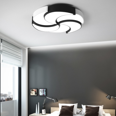 Black and White Windmill Ceiling Lamp Creative Modern Metallic LED Flush Mount for Coffee Shop