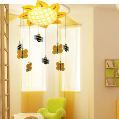 Bowl LED Flush Mount with Yellow Sunflower Children Room Acrylic Shade Flush Ceiling Light