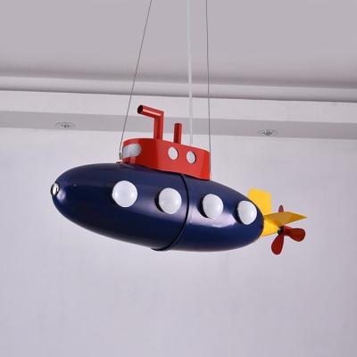 Cartoon Style Submarine Suspended Light Nursing Room Metal 8 Lights Chandelier in Navy Blue