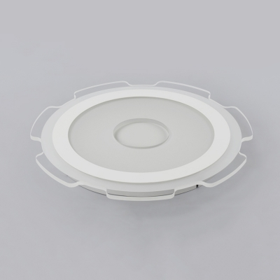 Gear LED Flush Mount with Acrylic Shade Contemporary Surface Mount Ceiling Light in White