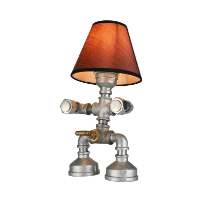 Industrial Robot Table Lamp in Silver Finish with Tap Accent