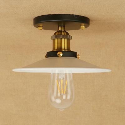 Matte White Flare Shade Semi Flushmount Retro Style Iron Single Light Ceiling Light for Coffee Shop