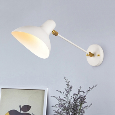 Metal Duckbill Shade Wall Lighting Modern Chic 1 Light Wall Lamp in White for Sitting Room