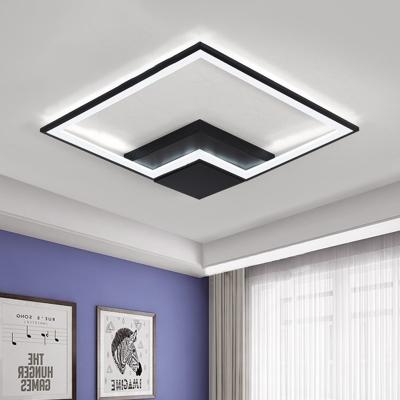 Metallic Square Frame Led Flush Light Minimalist Modern Art Deco