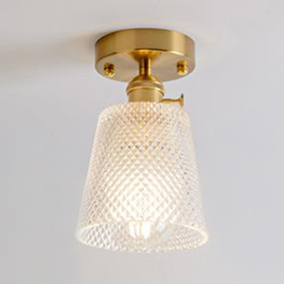 Mini Ceiling Light with Cone/Cylinder Glass Shade Industrial Single Light Semi Flush Light Fixture in Brass