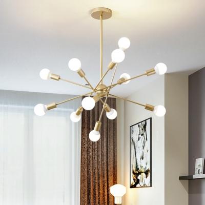 Nordic Modern Linear Suspended Light Metallic 6/8/12 Heads Chandelier Lamp in Gold