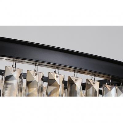 Smoke Crystal 3 Tiers Chandelier Modern Design 6 Bulbs Art Deco Hanging Light Fixture in Black