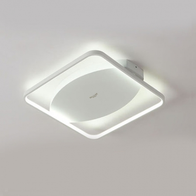 Square Frame Flush Mount with Oval Metal Canopy Simplicity LED Ceiling Fixture in Warm/White