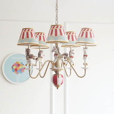 Tapered Suspended Light with Cartoon Horse Kindergarten Fabric 5 Lights Chandelier in White