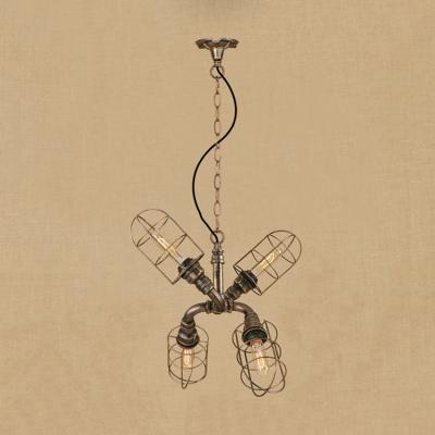 Wire Guard Hanging Light Industrial Metallic 4 Heads Chandelier Lamp in Antique Bronze/Antique Silver