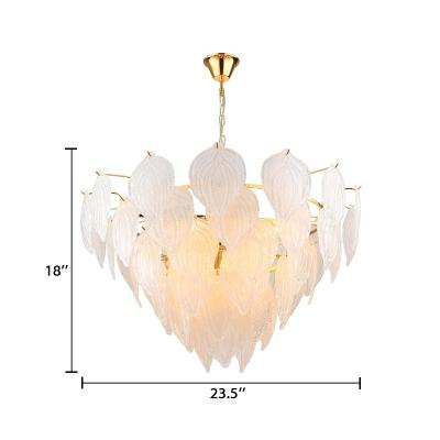 7 Lights Leaf Chandelier Light Modern Design Seeded Glass Art Deco Suspended Light in Gold