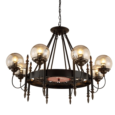Black Wagon Wheel Chandelier with Modo Glass Shade Modern 8 Lights Suspension Light