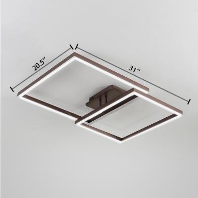 Brown 2 Square Frame Flush Light Fixture Contemporary Concise Aluminum LED Flushmount