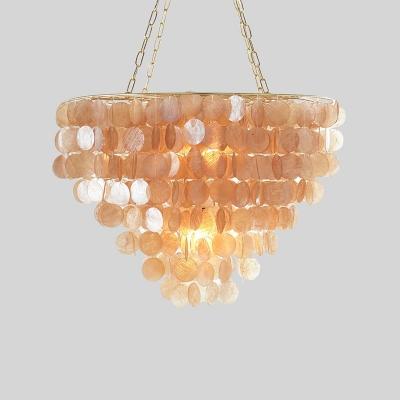 Cognac Shelly Shade Pendant Lamp Modernism Metal Decorative Single Head Hanging Lamp
