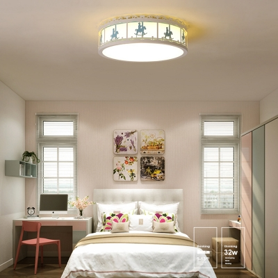 Drum Flush Light with Carousel Design Boys Girls Room Acrylic LED Ceiling Fixture in Blue/Pink/White