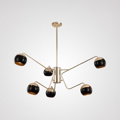 Globe Chandelier Lamp Nordic Style Metal 6 Lights Art Deco Hanging Light in Gold for Living Room