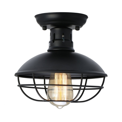 Matte Black Wire Guard Lighting Fixture with Dome Shade Nautical Style Metal 1 Light Semi Flush Mount Lighting