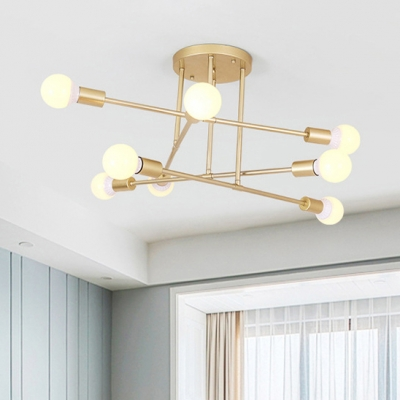 2e7ddbc02dc Metal Open Blub Semi Flush Mount with Crossed Lines Modernism 8 Heads Ceiling  Lamp in Gold