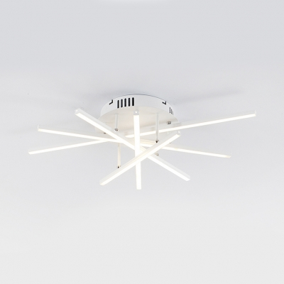 Modern Design Crossed Lines Ceiling Lamp Metallic Art Deco LED Semi Flush Light in Warm/White