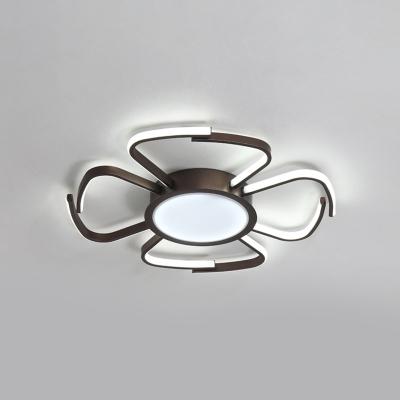 Nordic Bloom Shape Ceiling Fixture Metallic LED Flush Mount in Warm/White/Neutral