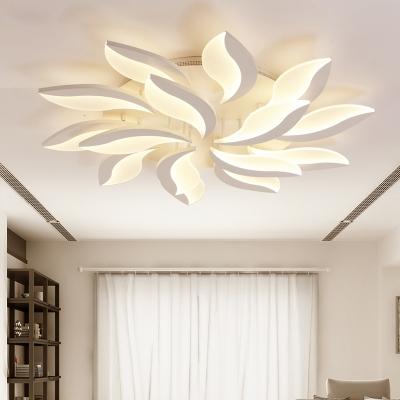 Nordic Style Leaf Led Semi Flush Mount Acrylic Multi Light