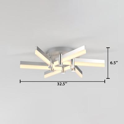 Nordic Style Windmill Lighting Fixture Acrylic 6 Lights LED Semi Flush Mount Lighting in Silver