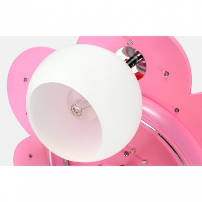 Pink Flower Ceiling Light with Cartoon Horse Frosted Glass Triple Lights Semi Flush Mount for Girls Room