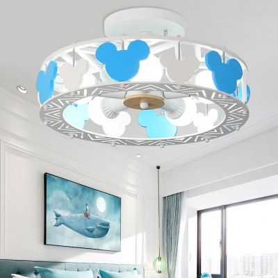 Round Ceiling Light with Cartoon Mouse Baby Kids Room Wood Semi Flush Mount in Blue