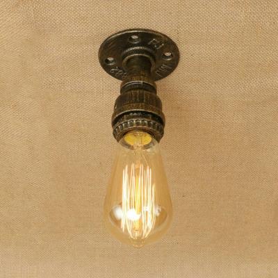 Single Light Mini Ceiling Lamp with Bare Bulb Minimalist Industrial Iron Semi Flush Light in Antique Brass/Bronze/Silver