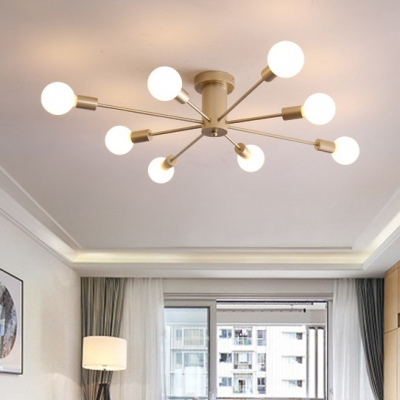 Soft Gold Branch Semi Flush Mount Light Modern Fashion Metal 8/10 Lights Art Deco Ceiling Lamp