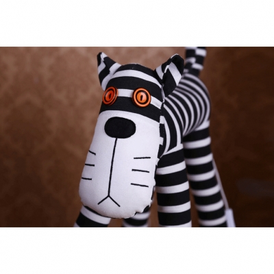 Strips Fabric Shade Standing Light with Black and White Cartoon Cat 1 Light Floor Lamp for Kids Room