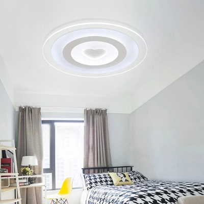Ultrathin Round Flushmount with Loving Heart Modernism Acrylic LED Ceiling Light in Warm/White