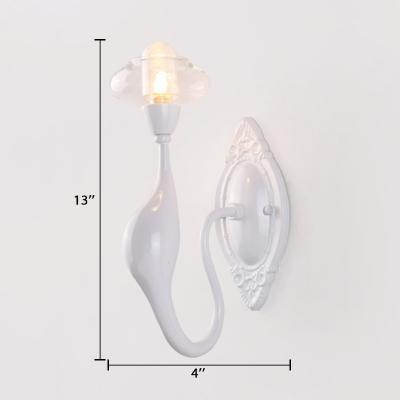 White Gooseneck LED Sconce Light Modernism Metal Single Light Art Deco Wall Lamp for Living Room