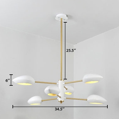 2 Tiers Hanging Light with Geometric Plastic Shade Nordic Style 6 Lights Indoor Lighting Fixture in White
