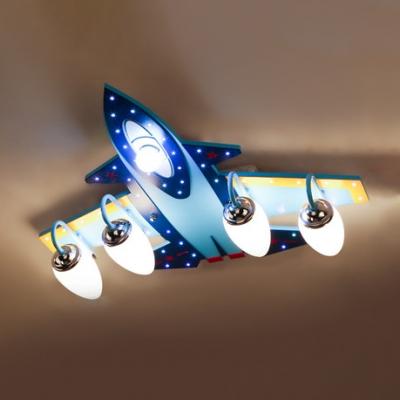 3/5 Lights Airplane Semi Flush Mount Children Bedroom Opal Glass Ceiling Fixture in Chrome