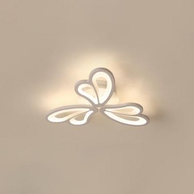 3/6 Lights Heart Design Lighting Fixture Modern Fashion Acrylic LED Ceiling Light in Warm/White/Neutral