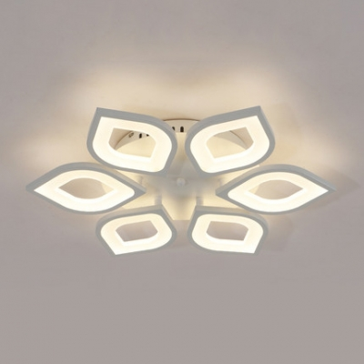 4/6 Heads Petal Semi Flush Light Monochromatic LED Ceiling Light with White Metal Canopy