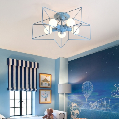5 Lights Star Ceiling Light with Colorful Wire Guard Modern Chic Lighting Fixture for Children Room