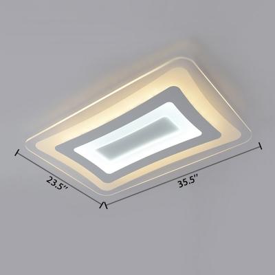 Acrylic Shade Oblong Flush Light Fixture Minimalist Nordic LED Flush Mount in Warm/White