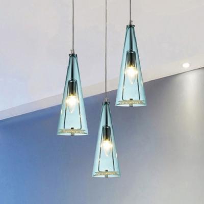 Aqua Glass Spire Suspended Light Modern Design Height Adjustable Triple Lights Hanging Light fixture