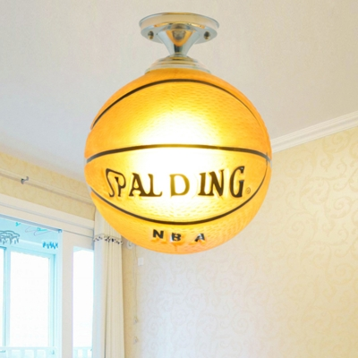 Basketball 1 Light Lighting Fixture Sport Theme Glass Shade Semi Flush Light for Boys Bedroom