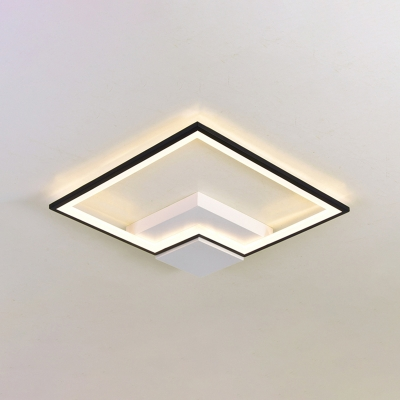 Black and White Squared Ceiling Light with Metal Frame Modernism LED Flush Light for Hotel Hall