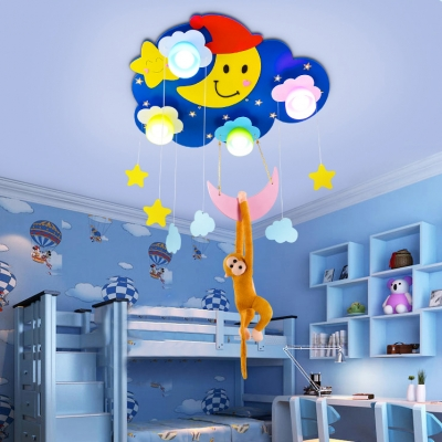 Blue/Pink Cloud Shape Flush Mount with Monkey Wood 4 Lights Ceiling Fixture for Children Bedroom