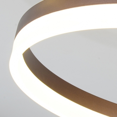 Brown 3 Rings LED Ceiling Light Modern Chic Metal Decorative Flush Light for Sitting Room