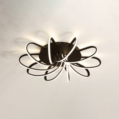 Brown Windmill Surface Mount Ceiling Light Contemporary Metallic Decorative LED Flush Light