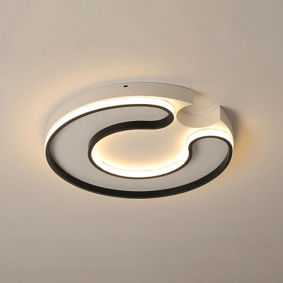 C Shape Surface Mount LED Light Modern Chic Metal Ceiling Lamp in Warm/White for Bedroom