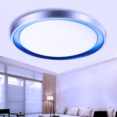 Circular LED Ceiling Light Minimalist Energy Saving Acrylic Flush Light Fixture in Blue/Orange/Purple